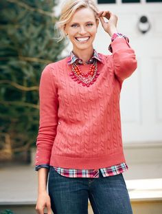 Talbots - Button-Cuff Cable Sweater | Sweaters | Oct 2015