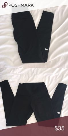 Alo Yoga High Waisted Airbrush Legging Yoga leggings! Barely worn, no holes, great condition. Just to get an idea they're a little thicker / sturdier than Lulu Lemon leggings, they tend to stay in better shape longer compared to my Lulus. Size: Small ALO Yoga Pants Leggings