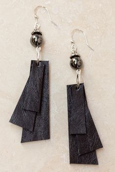 Coco Layered Leather Earrings - Brown