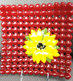 Fused Glass Woven glass red and yellow by Mtbaldyglassworks, $49.00
