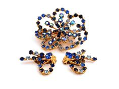Blue Rhinestone Flower Brooch and Earrings  by TheBirdcageVintage, $44.99 #vintage #etsy