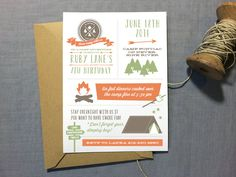 Camping Birthday Party Invitation Camp out by deaandbean on Etsy