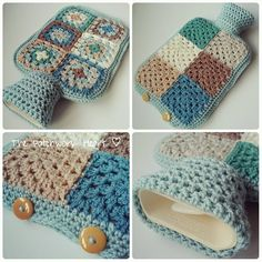 The Patchwork Heart: Hot Water Bottle Production Line wärmflasche Crochet Home, Love Crochet, Crochet Gifts, Learn To Crochet, Knit Crochet, Grannies Crochet, Crochet Motifs, Crochet Patterns, Water Bottle Covers