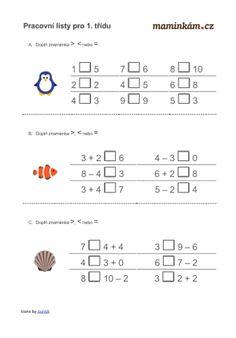 Pracovní listy pro 1. třídu - matematika - počítání do 10 | Maminkám.cz Worksheets, Macrame, Education, Words, Creative, Teaching Math, Literacy Centers, Onderwijs, Learning