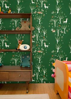Forest Picnic, Green - Jim Flora Wallpaper Tiles | Wallpaper Tiles