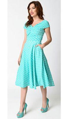 3980e99e54f9 Retro 1950s Style Mint & White Polka Dot Sleeveless Swing Dress
