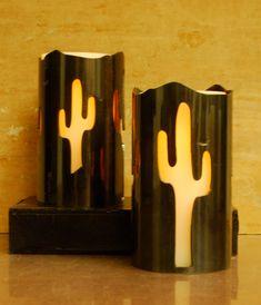 Saguaro -1027- Metal Candle Holder Luminary by TubeTorcher on Etsy https://www.etsy.com/listing/191263229/saguaro-1027-metal-candle-holder