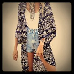 """HOST PICKNWT: Boho Kimono. M/L. Navy & Tan NWT: Brand New. Size M or L. Navy Blue, Tan & Cream. Boho Print. Cute with a white/tan tank or slub/slouch fit tee & jeans/leggings.                                                      GWP: Choose one of the items listed w this  icon or the letters """"GWP"""" OR a brand new Sterling Silver Adjustable Midi/Toe Ring❣ Kimono Accessories Scarves & Wraps"""