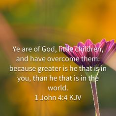 1 John Ye are of God, little children, and have overcome them: because greater is he that is in you, than he that is in the world. Bible Verses Kjv, Bible Quotes, Bible Love, Morning Blessings, God Prayer, 1 John, Religious Quotes, Quotes About God, Trust God