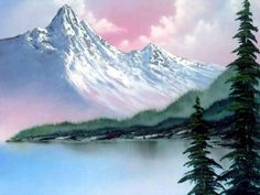 bob ross paintings for sale | bob ross | The Purple Pedant. Pink sky, white mountains