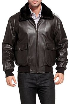 Landing Leathers Navy Men's G-1 Goatskin Leather Flight Bomber Jacket - M Landing Leathers ++You can get best price to buy this with big discount just for you.++