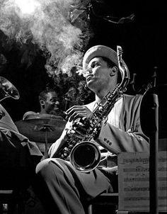 Dexter Gordon by Herman Leonard. Smoking portrait taken in NYC in 1948