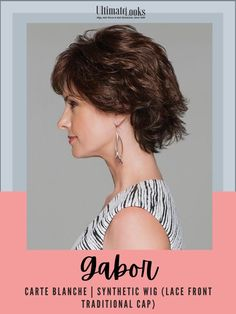 A fresh take on the classic fluff-back silhouette, this short, barely waved cut includes a Hand-Knotted Top and Sheer Lace Front for natural looking, off-the-face styling. #hairstyles #hairdo #hairoftheday #styleinspo #styles Gabor Wigs, Synthetic Lace Wigs, Wig Cap, Hairline, Lace Front Wigs, Hair Lengths, Luxury Fashion, Hairstyles, Silhouette