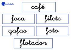 Aprender palabras con la letra f. Un ejemplo de actividad es hacer frases con dibujos.