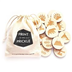 Print and Prickle Wilderness Wooden Memory Game with Laser Cut Images. Great little stocking stuffer, travel game or gift for kids.