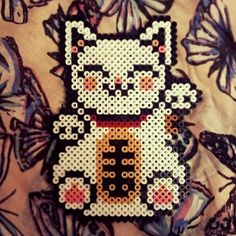 Lucky cat perler beads by pink_bunny88