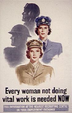 British Propaganda: This poster called for the conscription of women in the military because the military needed for workers.  It targeted many women who were married or single.