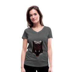 Geschenke Shop | We are freaks Wolf - Frauen Bio-T-Shirt mit V-Ausschnitt von Stanley & Stella Cat Lover, Pullover, V Neck T Shirt, Siam Cat, Fur, T Shirts For Women, Pink, My Love, Aloe Vera