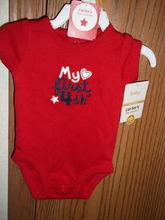 Carter's First 4th Newborn Boy Bodysuit Blue Red White NWT #Carters #EverydayHoliday