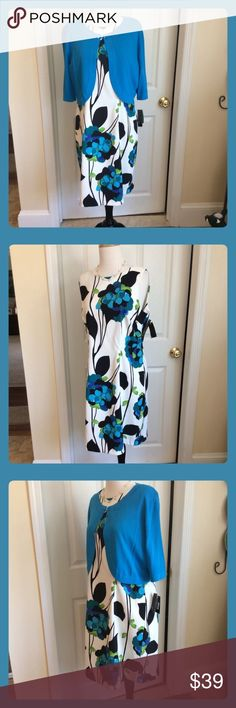 """Stunning New w Tags  2 piece """"AGB"""" Dress set A Super pretty 2 piece Dress and Sweater Bolero Set. A Classic Turquoise blue with Black, White and a touch of green floral printed sleeveless dress . This set will flatter any figure in style. This is Brand New. with Tags on! AGB Dresses"""