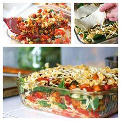 Stacked Roasted Veggie Enchiladas via Perry's Plate #comfort #freezerfriendly #casserole