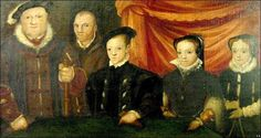 Awkward Tudor family portrait: Henry VIII with his children, in the order in which they are to succeed him...and his fool, Will Sommers.