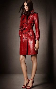 The Hong Kong Exclusives collection - a red trench coat with jewel-embellished collar designed in celebration of Burberry, Pacific Place. & I'll take the shoes too! Only Fashion, Red Fashion, Fashion Outfits, Womens Fashion, Fashion Sale, Paris Fashion, Fashion News, Runway Fashion, Girl Fashion
