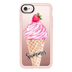 Summer Ice-Cream in Pink with a Strawberry - iPhone 7 Case And Cover ($40) ❤ liked on Polyvore featuring accessories, tech accessories, iphone case, clear iphone case, iphone cover case, iphone cases, apple iphone case and pink iphone case