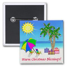 Christmas Beach Buttons Pin, Christmas Palm Trees.  Beach Christmas Cards and Gifts. To view ALL of my Original Designs for Beach Christmas Cards, Ornaments and other Tropical Christmas  Cards and Gifts please CLICK HERE: http://www.zazzle.com/littlelindapinda/gifts?cg=196208599071599335&rf=238147997806552929*/    ALL of Little Linda Pinda Designs CLICK HERE: http://www.Zazzle.com/LittleLindaPinda*/