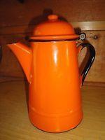 Vintage Orange Enamelware Coffee Pot