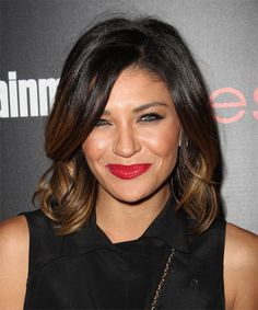 Jessica Szohr Hairstyle - Medium Straight Formal - Dark Brunette. Click on the image to try on this hairstyle and view styling steps!