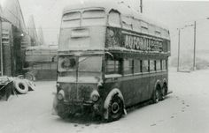 c1960 - London Transport Trolley 1507 in the snow at Stonebridge Park depot.
