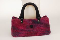 Felted Purse Hand-Knit Felted Purse Wool Purse Beaded