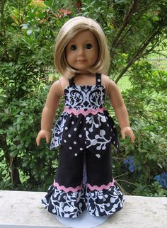 American Girl Doll Clothes Black and White Set Swing by SewSoNancy, $20.00