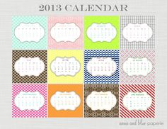 #2013 #calendar #printable #diy and and blue paperie