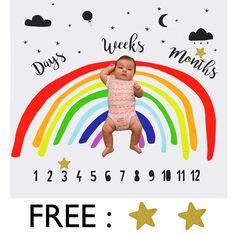 FREST Baby Monthly Milestone Blanket Photography Backdrop Rainbow Design and Bonus Star Props Milestone Pictures, Plush Baby Blankets, Baby Monthly Milestones, Toddler Boys, Kids, Baby Swaddle, Baby Scrapbook, Rainbow Baby, Baby Month By Month