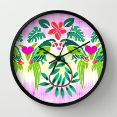 Love Birds Wall Clock by Vikki Salmela - $30.00 #new #wall #clocks on #Society6! #Love #birds #parrot #tropical #heart #Hawaiian #art for #kitchen #studio #apartment with #FREE #shipping #worldwide through #Sunday! Great #gift!