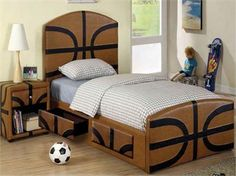 Found it at AllModern - Sports Fun Basketball Panel Bedroom Collection Basketball Room Decor, Basketball Bedding, Sports Bedding, Basketball Nursery, Basketball Stuff, Twin Beds For Boys, Kid Beds, Bedroom Furniture, Bedroom Decor