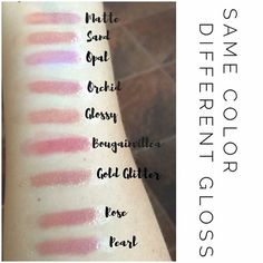 Not only do we have over 70 gorgeous lip colors, we also carry a dozen gorgeous glosses! Look at the effects the differing glosses have on the same base color (cappuccino). Glossy and Bougainvillea are my FAVES#lipsense #glosses #lipstick #bbloggers