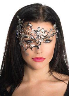 Buy this women's unique half face silver metal masquerade mask online now. Deluxe quality silver masquerade mask with gorgeous filigree design and sparkling crystals. Women's masquerade masks are in stock for express delivery Australia wide. Masquerade Mask Tattoo, Elegant Masquerade Mask, Couples Masquerade Masks, Venetian Masquerade Masks, Masquerade Costumes, Masquerade Ball, Eye Makeup Red Dress, Hallowen Costume, Mask Girl
