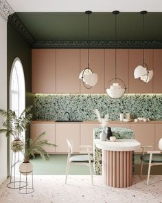Terrazzo is currently trending throughout the design world. Reminiscence of terrazzo tile can be found in ancient temples which date all the way back to ancient Egypt and Rome. Terrazzo, Küchen Design, Layout Design, House Design, Armoire Rose, Kitchen Interior, Kitchen Decor, Kitchen Ideas, Art Deco Kitchen