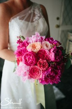 Florals by: The Little Flower Cottage | Photo credit: Sherrell Photography | Officers Club Newport RI Wedding |Fuschia Wedding Flowers | Peonies, Garden Roses|
