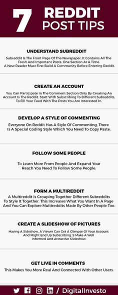 Here are few Tips for Reddit.  Take a view on all tricks that will help you maintain a good content for Reddit.  For more interesting post updates follow our Social Media Channels and subscribe to our Website. Social Media Channels, Social Media Marketing, Student, Content, Website, Learning, World, Tips, Studying