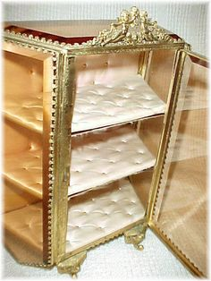 1860s French - Gilt Heavy Beveled Glass Angel Ormolu Jewelry Casket Cabinet Box - Victorian