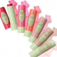 Shea Butter Lip Balm from Pix! (left to right) Ripe Raspberry, Pixi Pink, Coral Crush, Natural Rose, Honey Nectar, and Comfort Clear