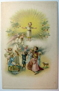 Christmas Angel with Gifts Postcard