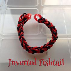 Red & black Inverted Fishtail bracelet, made by hand