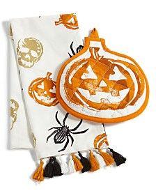 Martha Stewart Collection Pumpkin Kitchen Set, Created for Macy's Halloween Kitchen, Spooky Halloween, Halloween Treats, Happy Halloween, Halloween Decorations, Martha Stewart Halloween, Kitchen Sets, Kitchen Towels, A Pumpkin
