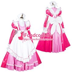 Free Shipping Lockable Sissy Maid PVC Vinyl Long Dress Uniform Cosplay Costume Tailor-made