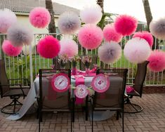 Jumbo pink and gray  tulle poms